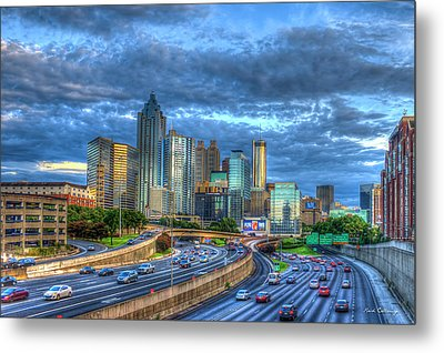 Metal Print featuring the photograph Sunset Blue Glass Reflections Atlanta Downtown Cityscape Art by Reid Callaway