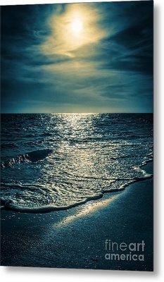 Sunset Bowman Beach Sanibel Florida Metal Print by Edward Fielding