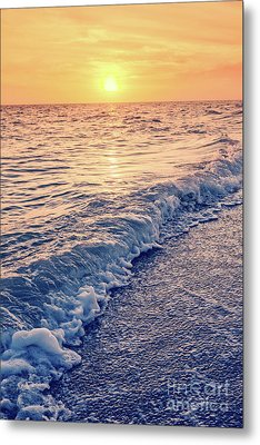Metal Print featuring the photograph Sunset Bowman Beach Sanibel Island Florida Vintage by Edward Fielding