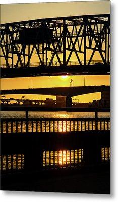 Metal Print featuring the photograph Sunset Bridge 2 by Arthur Dodd