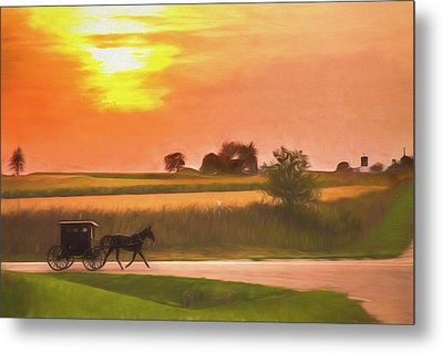 Metal Print featuring the photograph Sunset Buggy Ride by Joel Witmeyer