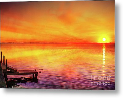 Metal Print featuring the digital art Sunset By The Shore by Randy Steele