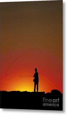 Sunset Casting Metal Print by John Greim