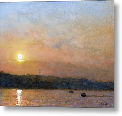 Metal Print featuring the painting Sunset- Cazenovia Lake by Wayne Daniels