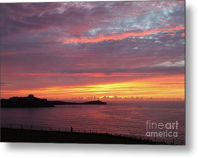 Metal Print featuring the photograph Sunset Clouds In Newquay Cornwall by Nicholas Burningham