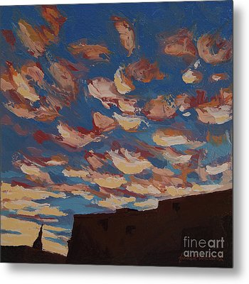 Metal Print featuring the painting Sunset Clouds Over Santa Fe by Erin Fickert-Rowland