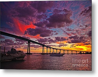 Sunset Crossing At The Coronado Bridge Metal Print