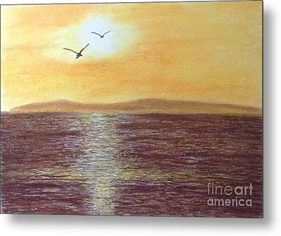 Sunset And Seagulls Metal Print by Cybele Chaves
