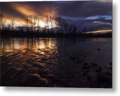 Sunset Drama Over Boise River In Boise Idaho Metal Print