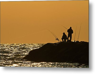 Sunset Fishermen Metal Print