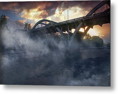 Sunset Fog At Caveman Bridge Metal Print