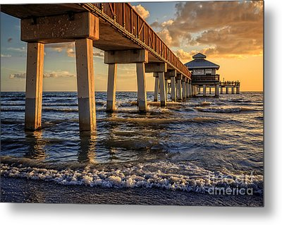 Sunset Fort Myers Beach Fishing Pier Metal Print