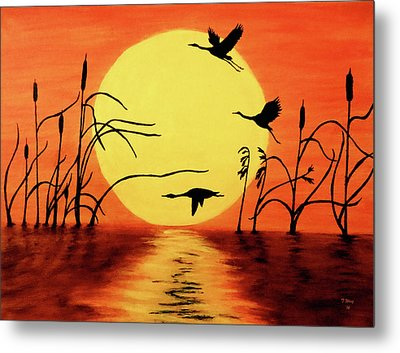 Sunset Geese Metal Print