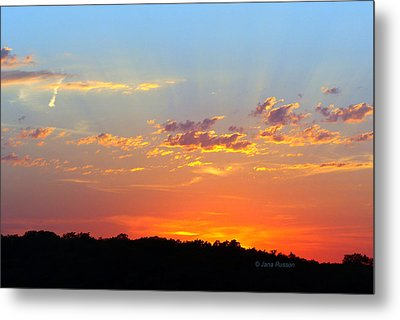Metal Print featuring the digital art Sunset Glory Orange Blue by Jana Russon