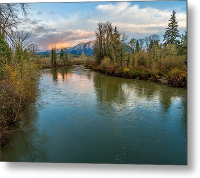 Sunset Glow Over The Snoqualmie River Metal Print