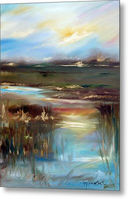 Sunset Gold Metal Print by Mary Sparrow