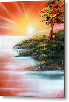 Metal Print featuring the painting Sunset by Greg Moores