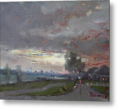 Sunset In A Rainy Day Metal Print by Ylli Haruni
