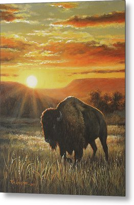 Metal Print featuring the painting Sunset In Bison Country by Kim Lockman