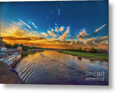 Sunset In Dresden Metal Print by Pravine Chester