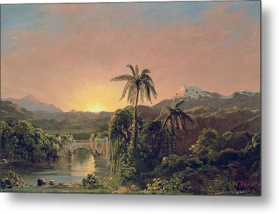Sunset In Equador Metal Print by Frederic Edwin Church