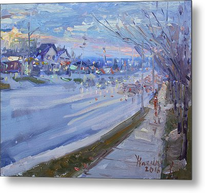 Sunset In Guelph St Georgetown On Metal Print by Ylli Haruni