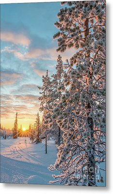 Metal Print featuring the photograph Sunset In Lapland by Delphimages Photo Creations