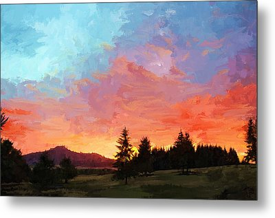 Sunset In Oregon Metal Print