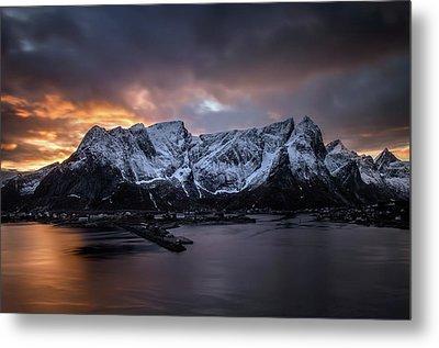Sunset In Reine Metal Print by Swen Stroop