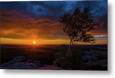 Sunset In Saxonian Switzerland Metal Print by Andreas Levi