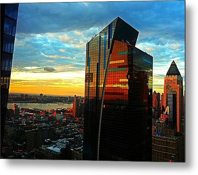 Sunset In The City Metal Print by Lisa  Esposito