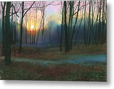 Metal Print featuring the painting Sunset In The Park by Sergey Zhiboedov