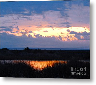 Sunset In The River Sea Beyond Metal Print by Expressionistart studio Priscilla Batzell