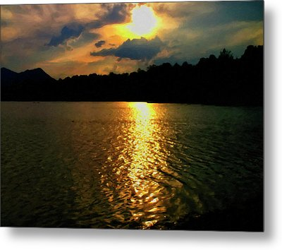 Metal Print featuring the digital art Sunset In The Smoky Mountains 1 by Chris Flees