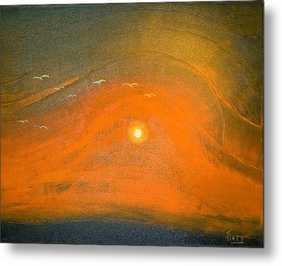 Metal Print featuring the painting Sunset In Valleys by Piety Dsilva