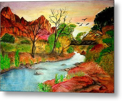 Sunset In Zion Metal Print