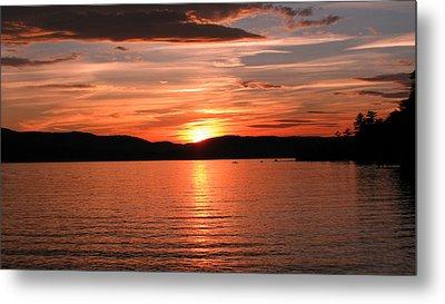 Sunset-lake Waukewan 1 Metal Print by Michael Mooney