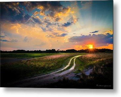 Sunset Lane Metal Print by Marvin Spates