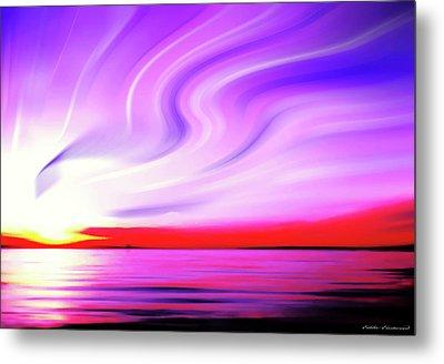 Sunset Light Painting At Edmonds Washington Waterfront Metal Print by Eddie Eastwood