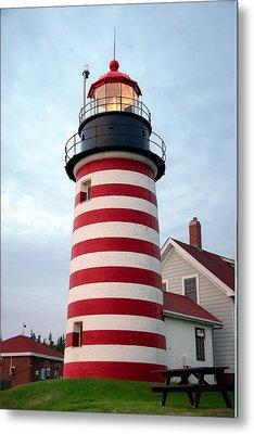 Sunset Lighthouse Metal Print by Brenda Giasson
