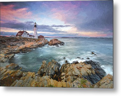 sunset lighthouse III Metal Print by Jon Glaser