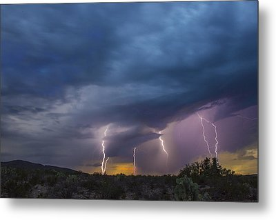 Metal Print featuring the tapestry - textile Sunset Lightning by Kathy Adams Clark