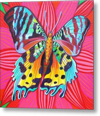 Sunset Moth Metal Print by Jane Tattersfield