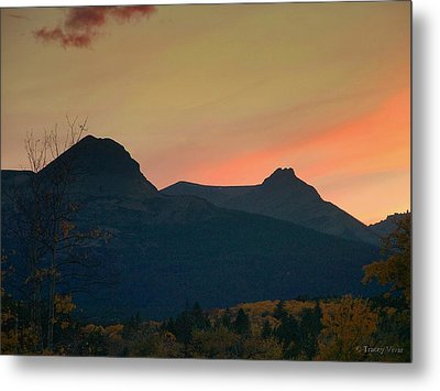 Sunset Mountain Silhouette Metal Print