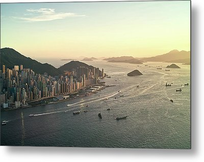 Sunset Of Hong Kong Victoria Harbor Metal Print