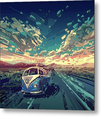 Sunset Oh The Road Metal Print by Bekim Art