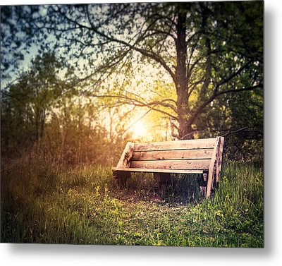 Sunset On A Wooden Bench Metal Print by Scott Norris