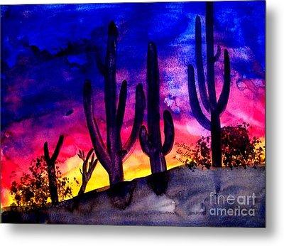 Sunset On Cactus Metal Print