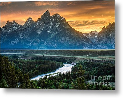 Sunset On Grand Teton And Snake River Metal Print by Gary Whitton