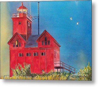 Sunset On Holland Light Metal Print by LeAnne Sowa